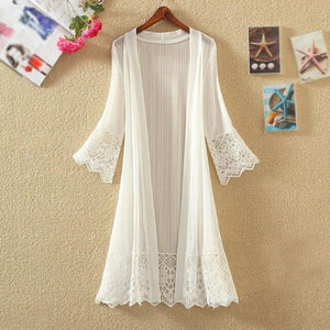 Lace Loose Solid Cardigan
