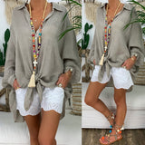 Long Sleeve Loose Casual Cotton Blouse Plus Size