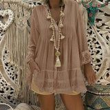V Neck Long Sleeve Tunic Loose Tops