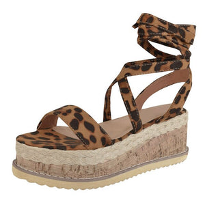 Leopard Platform Ankle Wrapped Sandals
