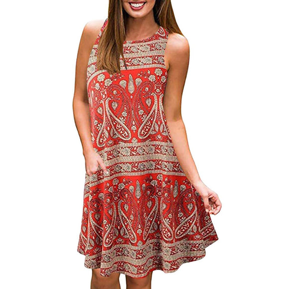 Crew Neck Printed Boho Dress