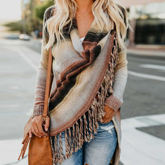Striped Knitted Tassel Sweater