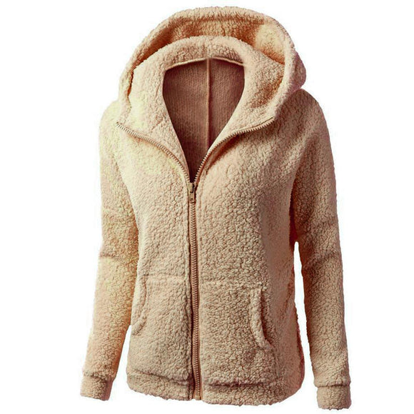 Fleece Zipper Pocket Hooded Coat - Plus Size Available