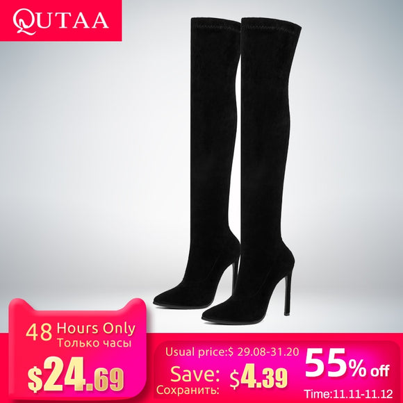 Over The Knee Stretch Fabrics High Heel  Boots