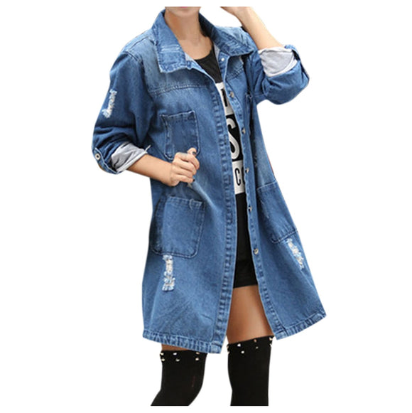 Boyfriend Style Ripped Denim Jacket - Plus Size Available