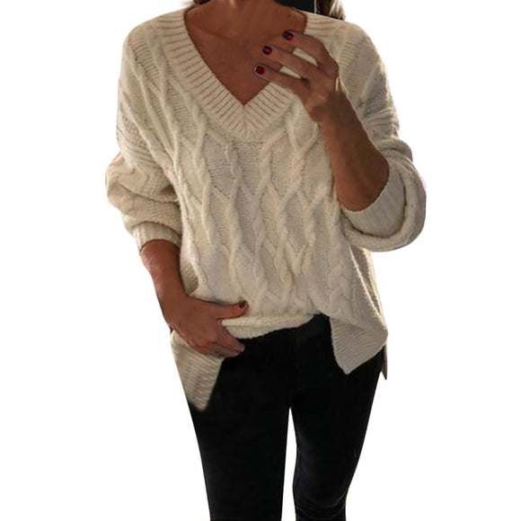 V-Neck Long Sleeved Knitted Sweater