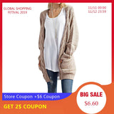 Long Sleeve Knitted Cardigan Plus Size Available