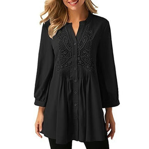 Long Sleeve Lace Crochet Chiffon Blouse - Plus Size Available