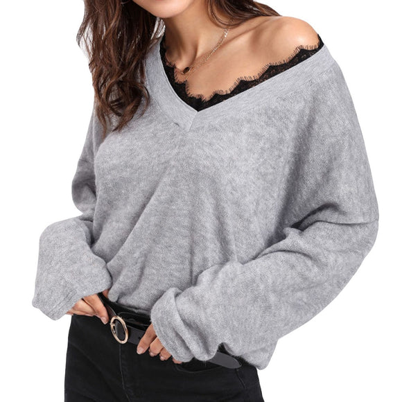 V-Neck Long Sleeve Lace Knitted Pullover Sweater