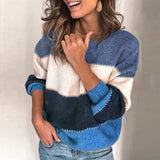 NIBESSER O Neck Patchwork Long Sleeve Sweater