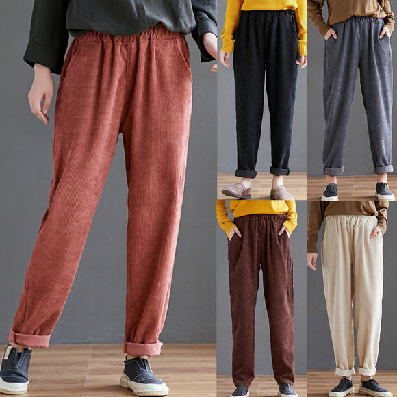 Corduroy High Waist Trousers - Plus Size Available