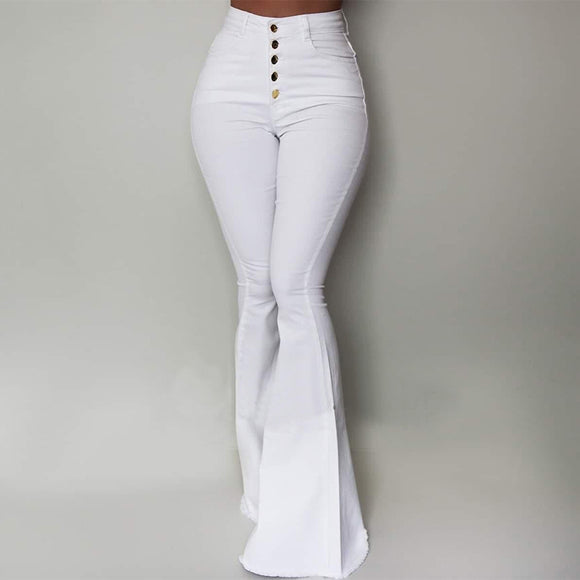 LASPERAL White Bell-Bottom Pants
