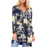 V Neck Floral Long Sleeve Lace Up with Pocket Blouse