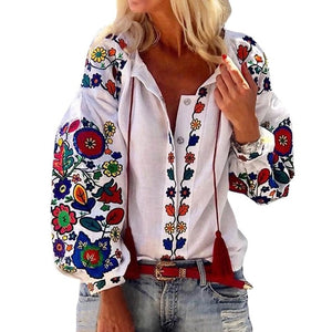 Bohemian Turn-down  Floral Printed Blouse