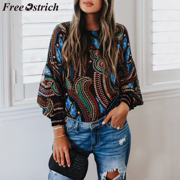 FREE OSTRICH Geometric Print O-Neck Long Sleeve Blouse