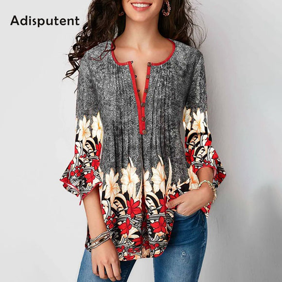 3/4 Sleeve Floral Button Loose Shirt - Plus Size Available
