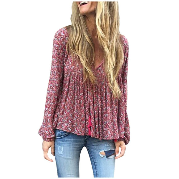 V Neck Long Sleeve Blouse - Plus Size Available
