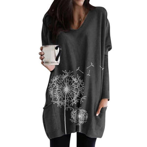 Long Sleeve O-neck Printing Pocket Blouse