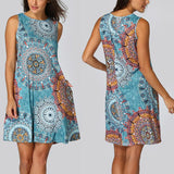 KANCOOLD Sleeveless Beach Floral Dress