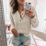 Button V-neck Long Sleeve Cotton Sweater