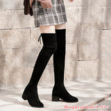 MoneRffi Suede Leather Over the Knee Stretch Boots