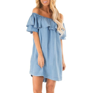 Off Shoulder Ruffles Backless Dress