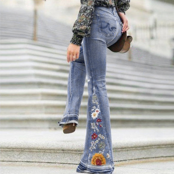Embroidery Big Flare Denim Jeans