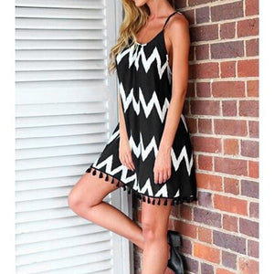 Wave Pattern Tassel Strap Dress