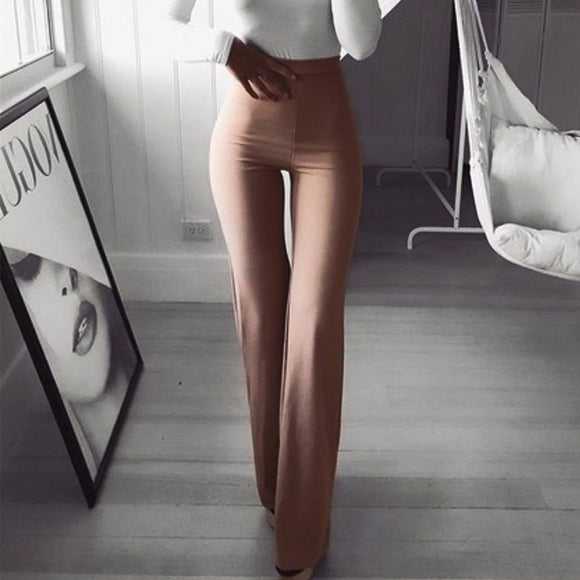 High Elastic Waist Flare Leg Pants