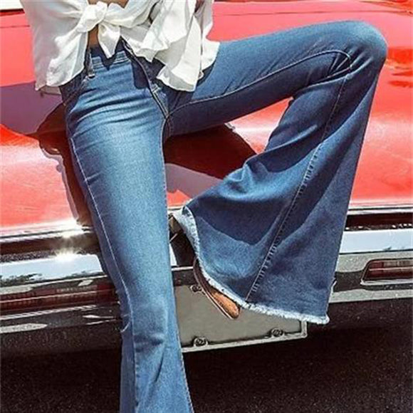 LASPERAL Elastic Flare Jeans - Plus Size Available