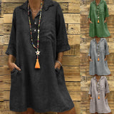 Turn-down Collar 3/4 Sleeve Pocket Button Dress - Plus Size Available