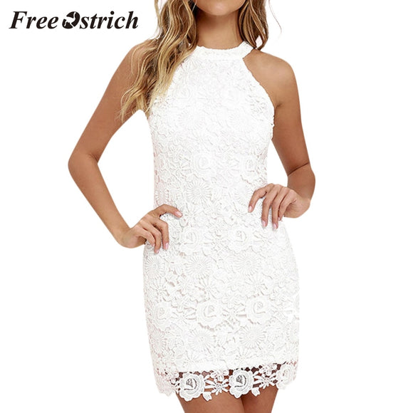 Free Ostrich Halter Collar Dress - Plus Size Available