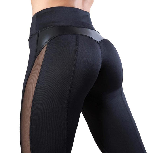 Mesh Sports Leather Leggings