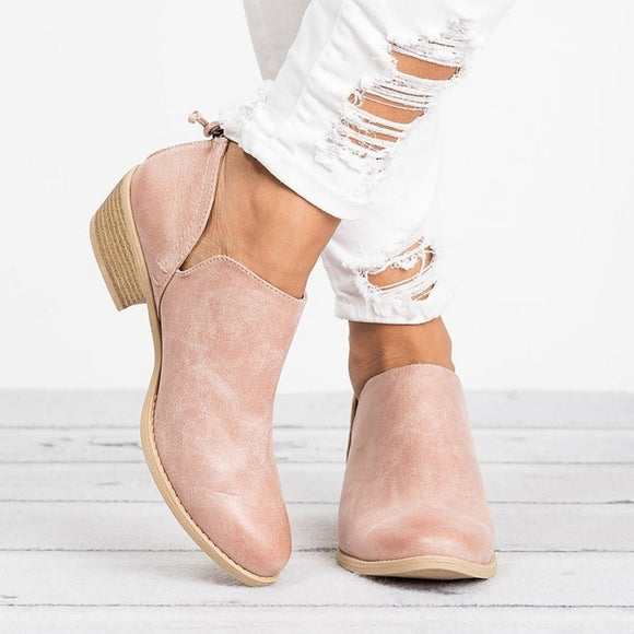 Square Heel Slip On Shoes