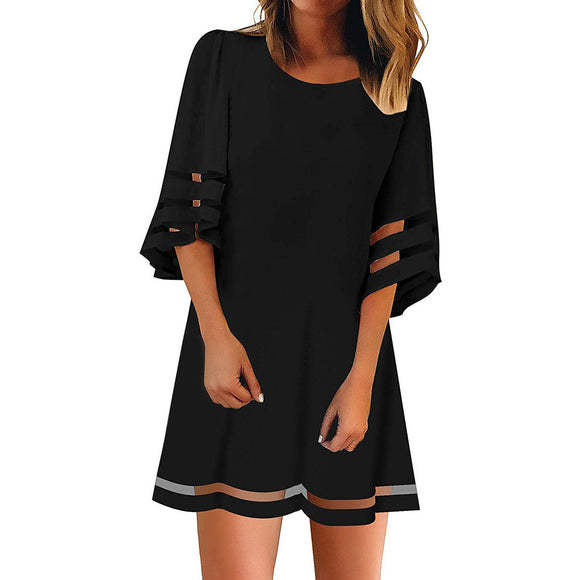 CHAMSGEND O Neck Mesh Panel Three Quarter Sleeve Dress - Plus Size Available