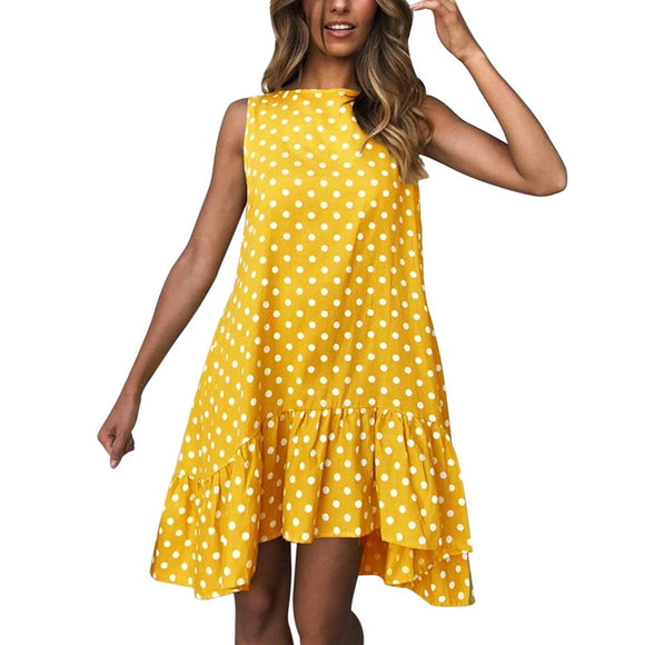WENYUJH  Polka Dot Print Sleeveless Dress - Plus Size Available