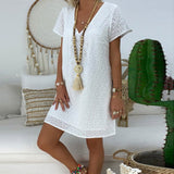 V-neck Short Sleeve  Patchwork Dress