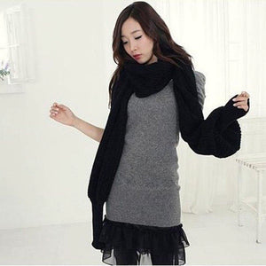 Knitted Scarf With Sleeves