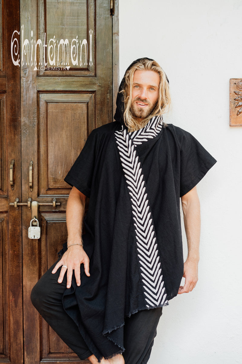Organic Cotton Hooded Shirt for Men / Nomad Ripped Tunic / Black