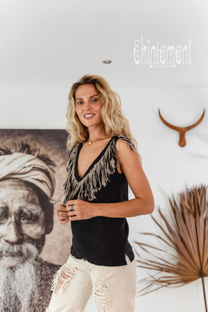 Boho Linen Tank Top with Fringes / Black
