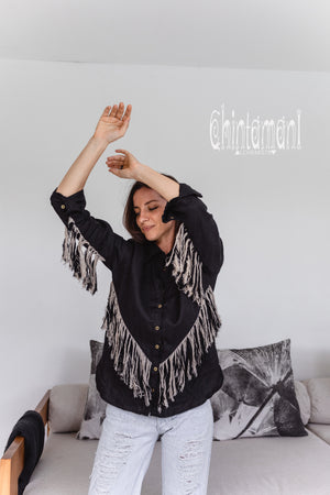 Linen Boho Button Shirt with Fringes / Black
