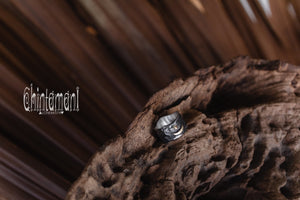 ALCHEMY Sterling Silver & Gold Band Ring / Wide Rustic Textured Massive Ring - ChintamaniAlchemi