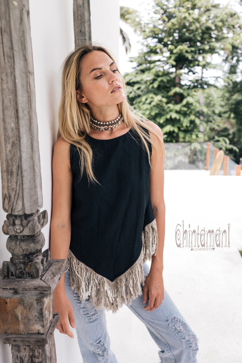 Alma Libra Corner Linen Top with Fringes / Black - ChintamaniAlchemi