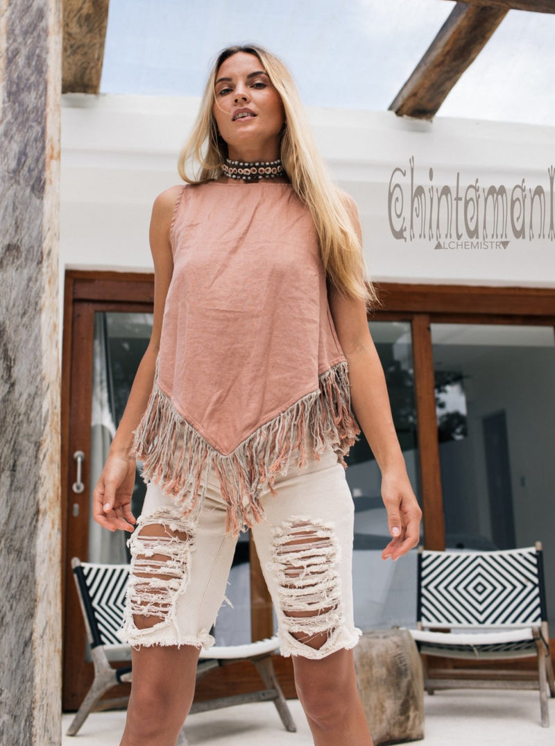 Alma Libra Corner Linen Top with Fringes / Dusty Pink - ChintamaniAlchemi