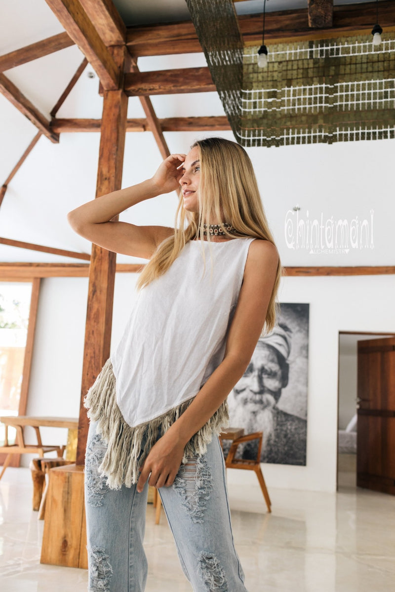 Alma Libra Corner Linen Top with Fringes / White - ChintamaniAlchemi