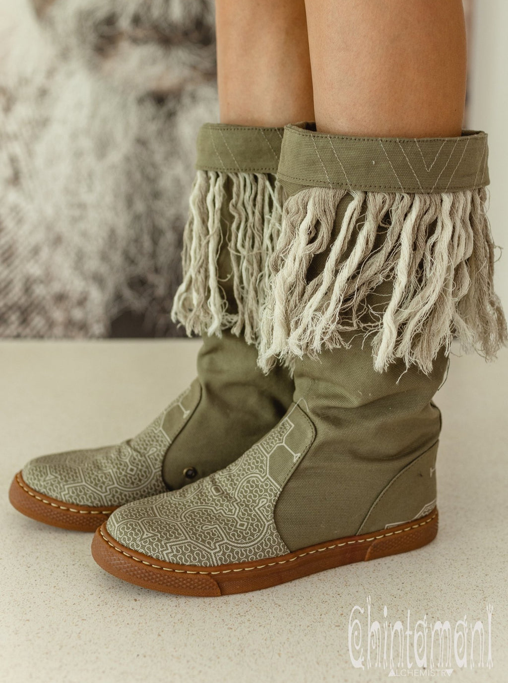 Alma Libra Cotton Canvas Vegan Fringe Boots / Boho High Shoes / Army Green - ChintamaniAlchemi
