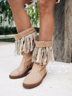 Alma Libra Cotton Canvas Vegan Fringe Boots / Boho High Shoes / Beige - ChintamaniAlchemi