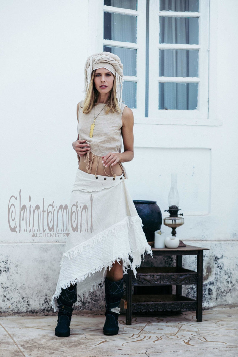 Asymmetric Gypsy Boho Triangle Scarf Skirt / Off White - ChintamaniAlchemi