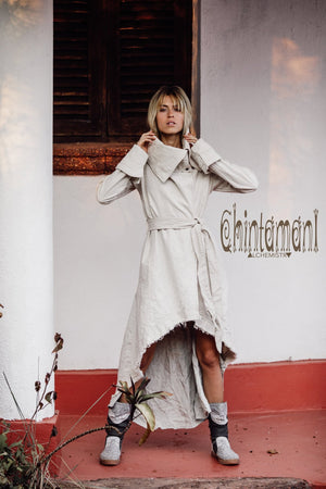 Asymmetric High Neck Canvas Trench Coat for Women / Off White - ChintamaniAlchemi