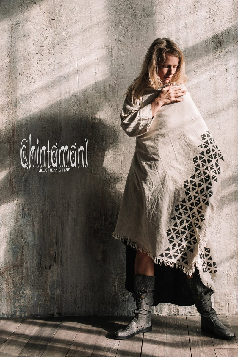 Asymmetric Huge Mantle Cardigan for Women / Raw Cotton Kimono Wrap / Off White - ChintamaniAlchemi